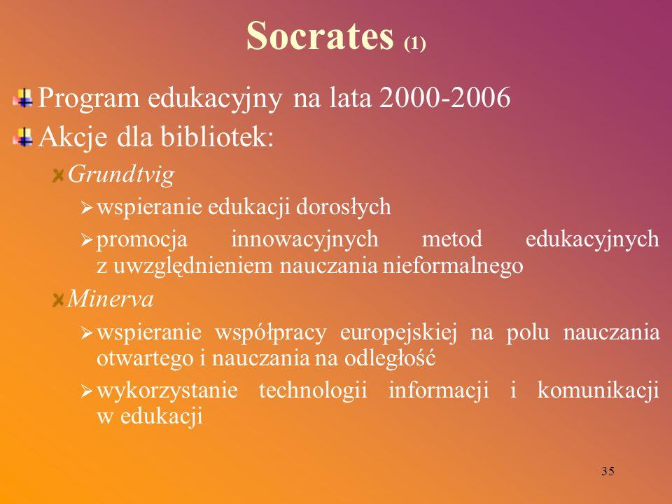 35 Socrates (1) Program edukacyjny na lata 2000-2006 Akcje dla bibliotek: Grundtvig wspieranie edukacji dorosłych promocja innowacyjnych metod edukacy