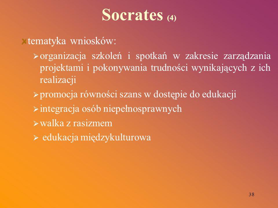 38 Socrates (4) tematyka wniosków: organizacja szkoleń i spotkań w zakresie zarządzania projektami i pokonywania trudności wynikających z ich realizac