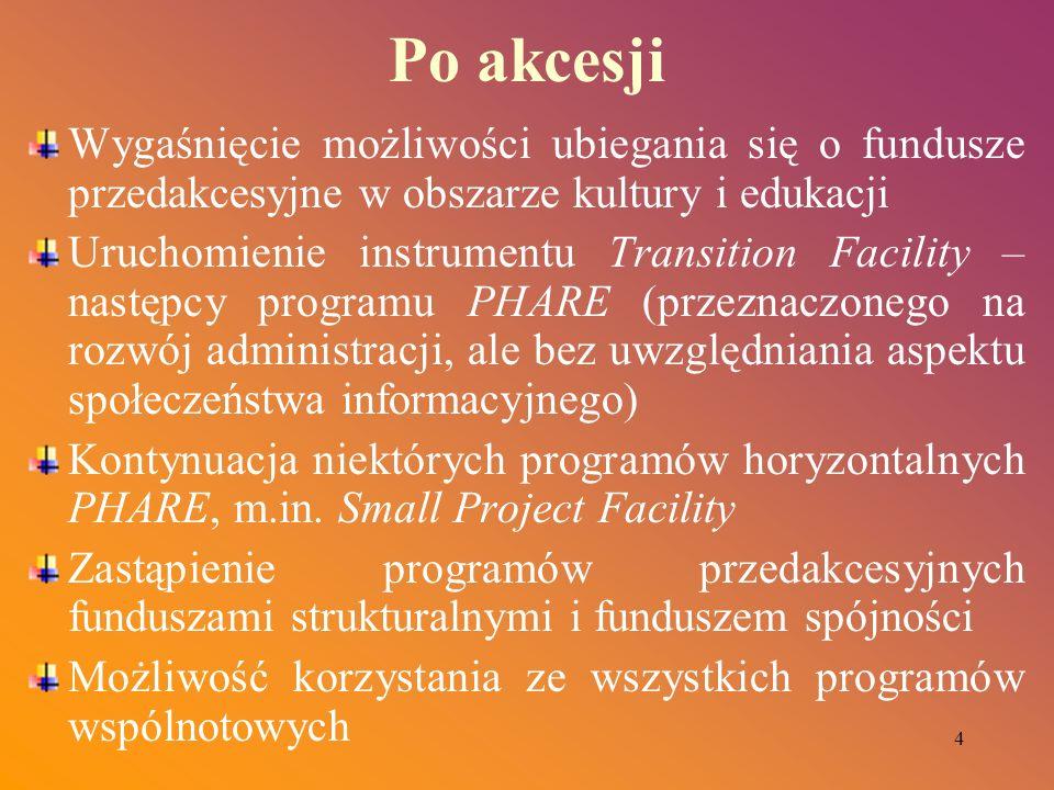 4 Po akcesji Wygaśnięcie możliwości ubiegania się o fundusze przedakcesyjne w obszarze kultury i edukacji Uruchomienie instrumentu Transition Facility