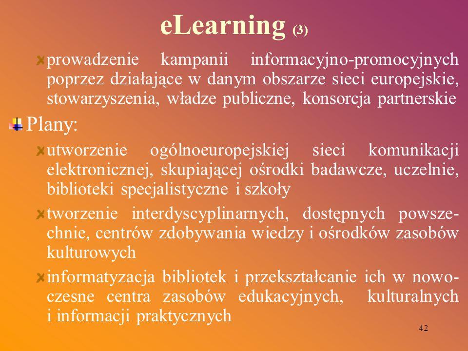 42 eLearning (3) prowadzenie kampanii informacyjno-promocyjnych poprzez działające w danym obszarze sieci europejskie, stowarzyszenia, władze publiczn
