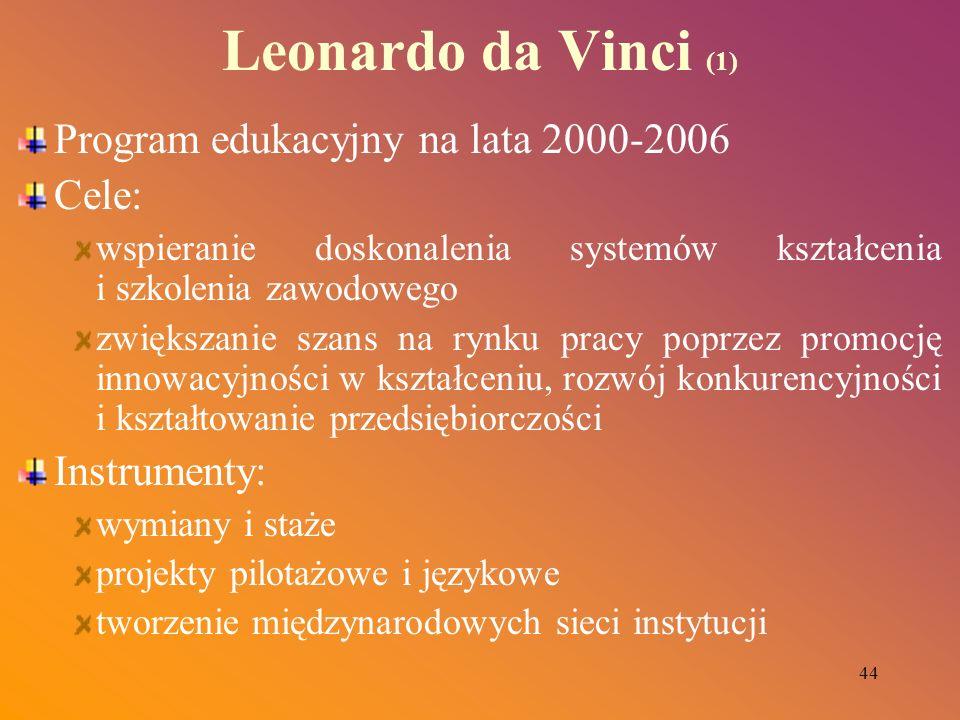 44 Leonardo da Vinci (1) Program edukacyjny na lata 2000-2006 Cele: wspieranie doskonalenia systemów kształcenia i szkolenia zawodowego zwiększanie sz