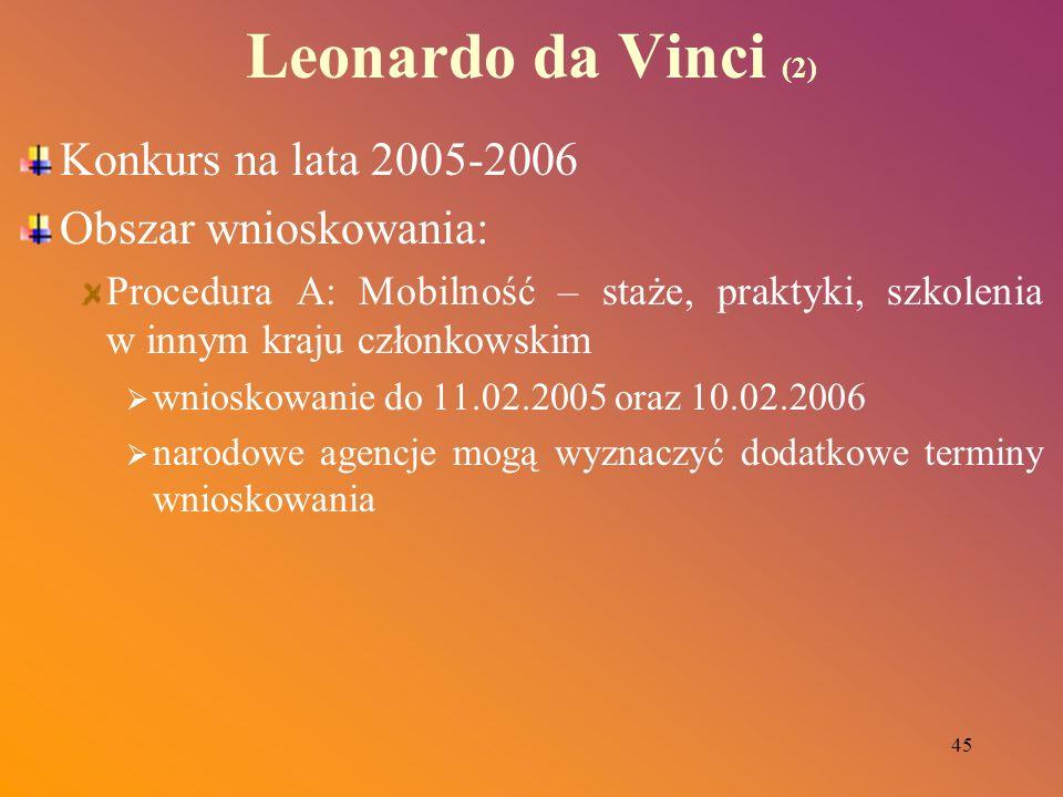 45 Leonardo da Vinci (2) Konkurs na lata 2005-2006 Obszar wnioskowania: Procedura A: Mobilność – staże, praktyki, szkolenia w innym kraju członkowskim