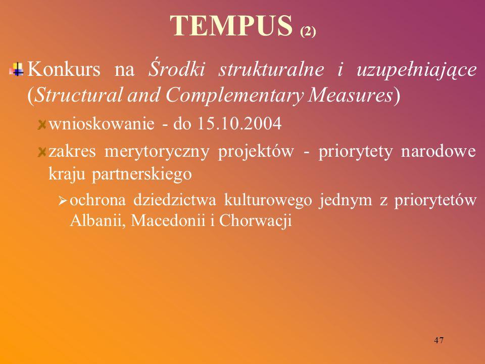 47 TEMPUS (2) Konkurs na Środki strukturalne i uzupełniające (Structural and Complementary Measures) wnioskowanie - do 15.10.2004 zakres merytoryczny