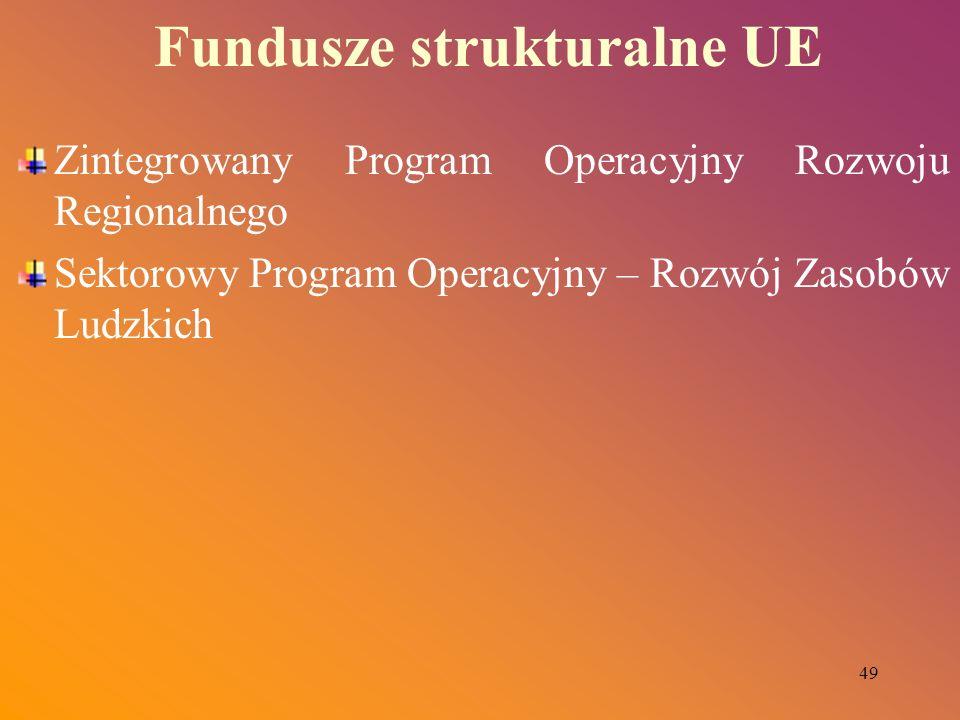 49 Fundusze strukturalne UE Zintegrowany Program Operacyjny Rozwoju Regionalnego Sektorowy Program Operacyjny – Rozwój Zasobów Ludzkich