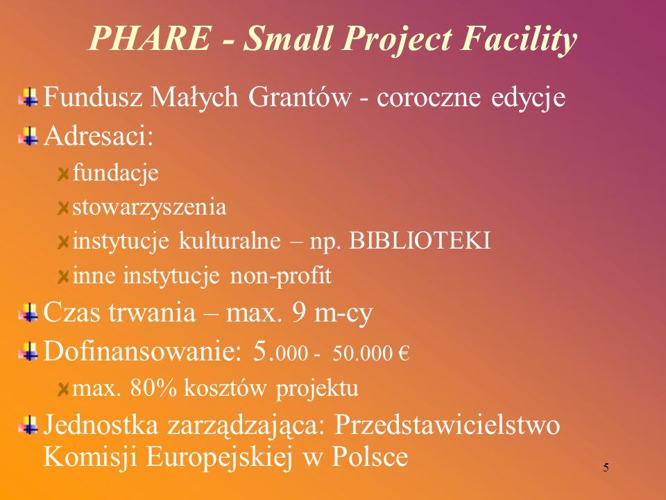 5 PHARE - Small Project Facility Fundusz Małych Grantów - coroczne edycje Adresaci: fundacje stowarzyszenia instytucje kulturalne – np. BIBLIOTEKI inn