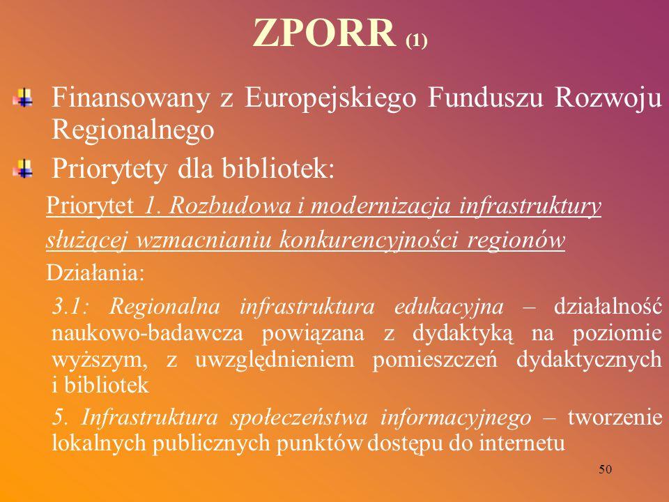 50 ZPORR (1) Finansowany z Europejskiego Funduszu Rozwoju Regionalnego Priorytety dla bibliotek: Priorytet 1. Rozbudowa i modernizacja infrastruktury