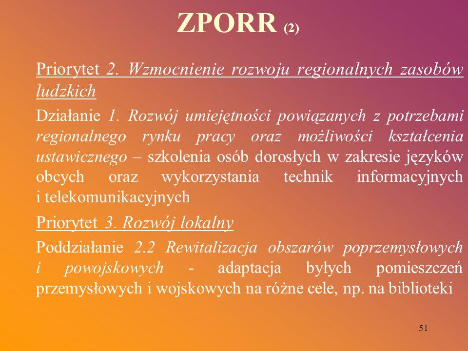 51 ZPORR (2) Priorytet 2. Wzmocnienie rozwoju regionalnych zasobów ludzkich Działanie 1. Rozwój umiejętności powiązanych z potrzebami regionalnego ryn