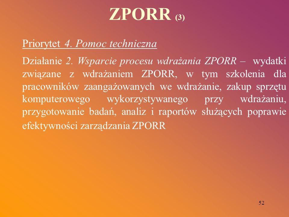 52 ZPORR (3) Priorytet 4. Pomoc techniczna Działanie 2. Wsparcie procesu wdrażania ZPORR – wydatki związane z wdrażaniem ZPORR, w tym szkolenia dla pr
