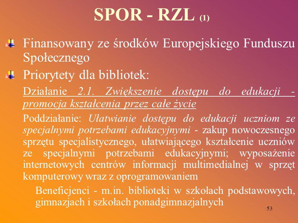 53 SPOR - RZL (1) Finansowany ze środków Europejskiego Funduszu Społecznego Priorytety dla bibliotek: Działanie 2.1. Zwiększenie dostępu do edukacji -