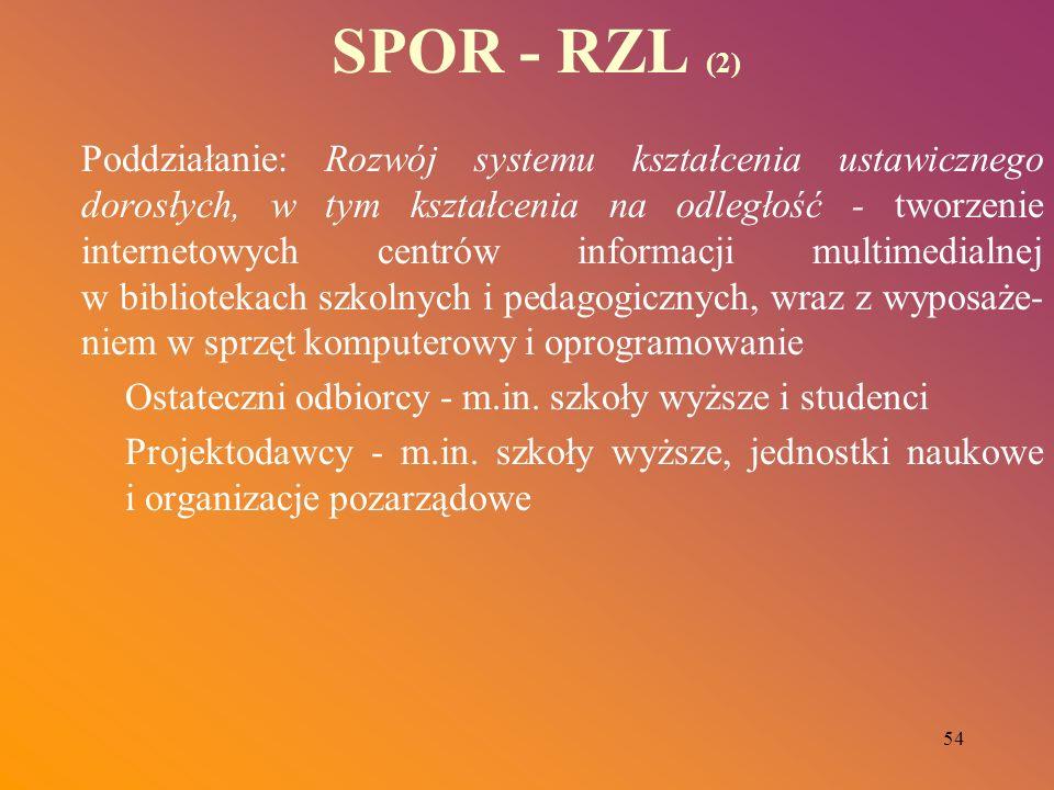 54 SPOR - RZL (2) Poddziałanie: Rozwój systemu kształcenia ustawicznego dorosłych, w tym kształcenia na odległość - tworzenie internetowych centrów in