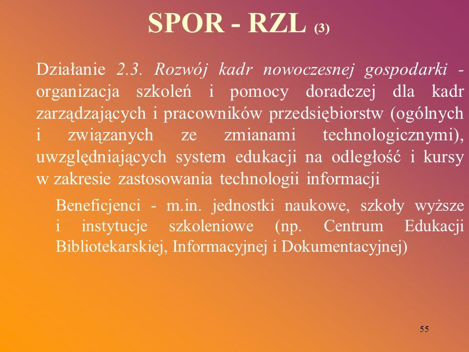 55 SPOR - RZL (3) Działanie 2.3. Rozwój kadr nowoczesnej gospodarki - organizacja szkoleń i pomocy doradczej dla kadr zarządzających i pracowników prz