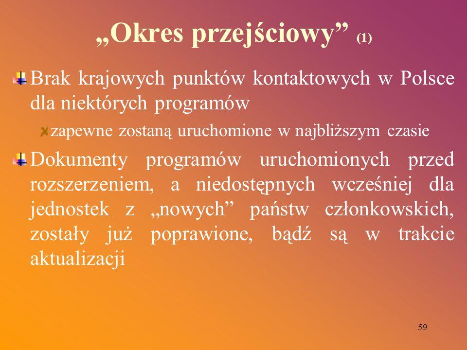 59 Okres przejściowy (1) Brak krajowych punktów kontaktowych w Polsce dla niektórych programów zapewne zostaną uruchomione w najbliższym czasie Dokume