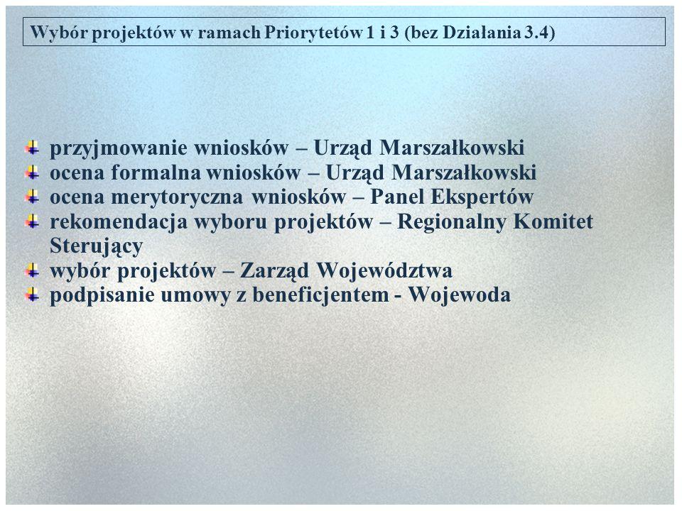 Wybór projektów w ramach Priorytetów 1 i 3 (bez Działania 3.4) przyjmowanie wniosków – Urząd Marszałkowski ocena formalna wniosków – Urząd Marszałkows