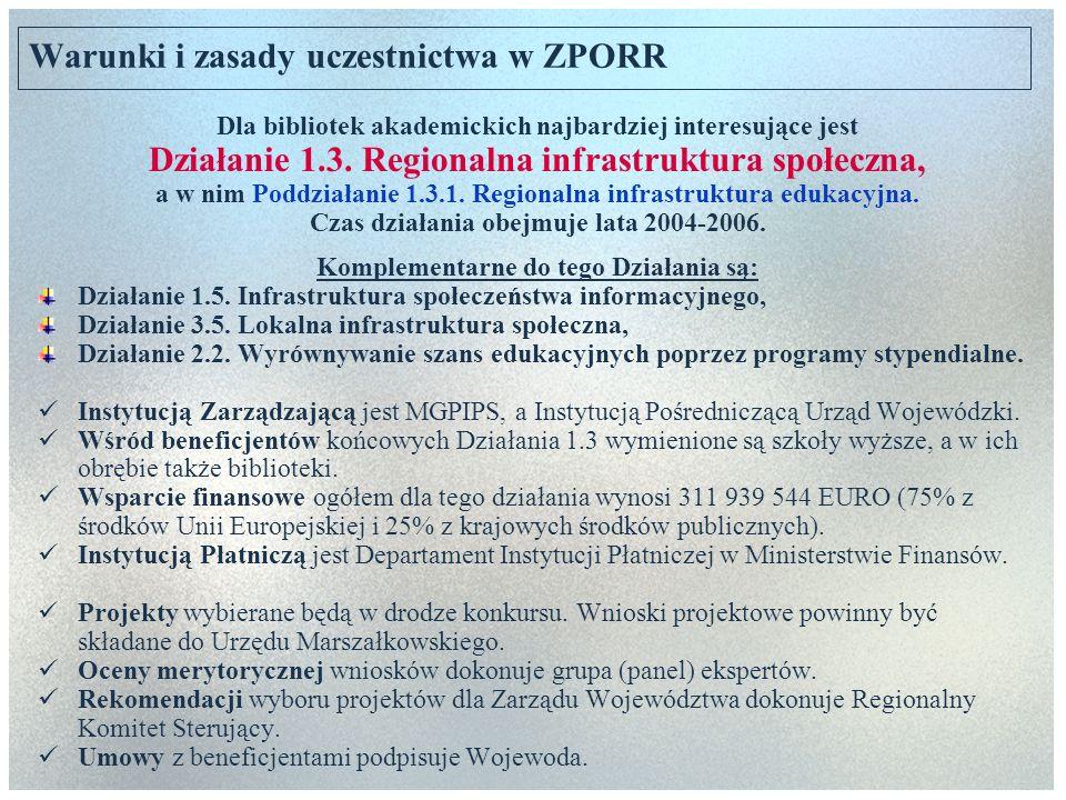 Warunki i zasady uczestnictwa w ZPORR Dla bibliotek akademickich najbardziej interesujące jest Działanie 1.3. Regionalna infrastruktura społeczna, a w
