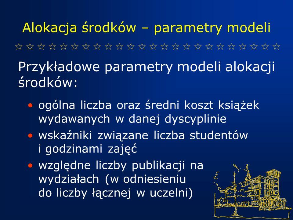 Alokacja środków – parametry modeli Przykładowe parametry modeli alokacji środków: ogólna liczba oraz średni koszt książek wydawanych w danej dyscyplinie wskaźniki związane liczba studentów i godzinami zajęć względne liczby publikacji na wydziałach (w odniesieniu do liczby łącznej w uczelni)