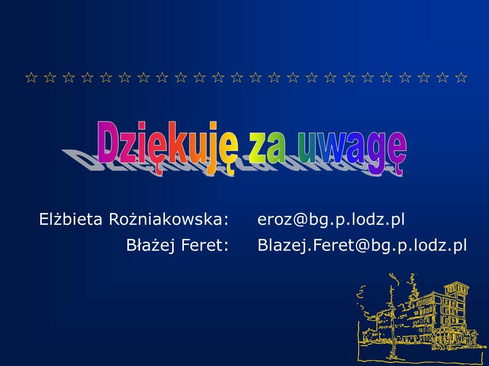 Elżbieta Rożniakowska: Błażej Feret: eroz@bg.p.lodz.pl Blazej.Feret@bg.p.lodz.pl