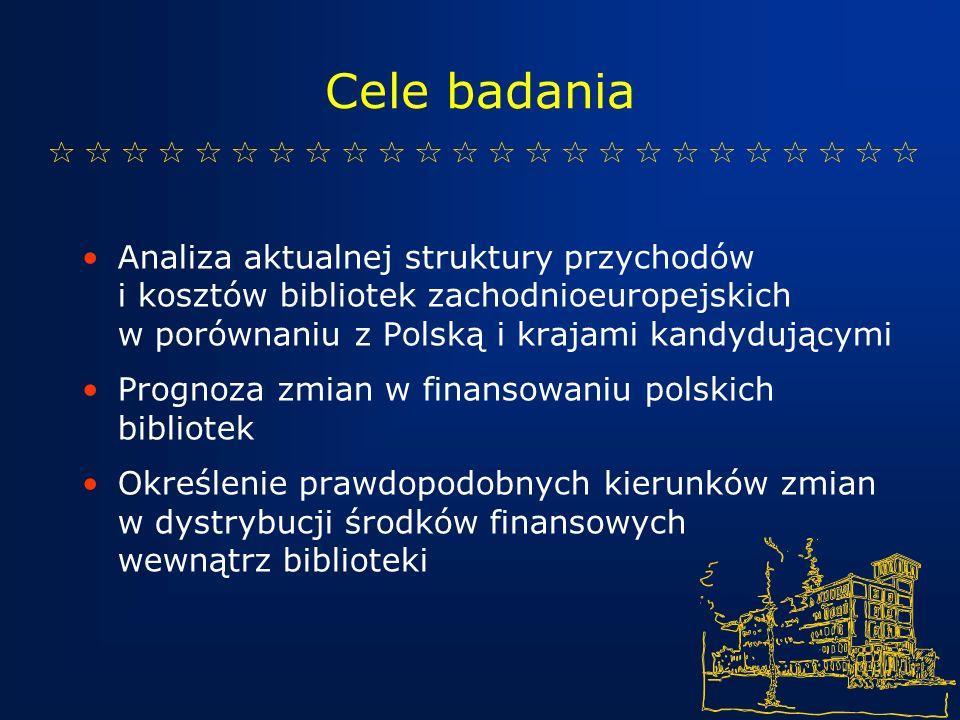 Cele badania Analiza aktualnej struktury przychodów i kosztów bibliotek zachodnioeuropejskich w porównaniu z Polską i krajami kandydującymi Prognoza zmian w finansowaniu polskich bibliotek Określenie prawdopodobnych kierunków zmian w dystrybucji środków finansowych wewnątrz biblioteki