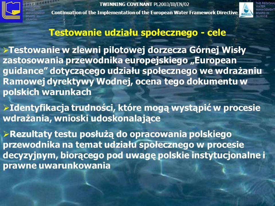 THE REGIONAL WATER MANAGEMENT BOARD IN KRAKÓW THE REGIONAL WATER MANAGEMENT BOARD IN GLIWICE Testowanie udziału społecznego - cele Testowanie w zlewni pilotowej dorzecza Górnej Wisły zastosowania przewodnika europejskiego European guidance dotyczącego udziału społecznego we wdrażaniu Ramowej dyrektywy Wodnej, ocena tego dokumentu w polskich warunkach Identyfikacja trudności, które mogą wystąpić w procesie wdrażania, wnioski udoskonalające Rezultaty testu posłużą do opracowania polskiego przewodnika na temat udziału społecznego w procesie decyzyjnym, biorącego pod uwagę polskie instytucjonalne i prawne uwarunkowania