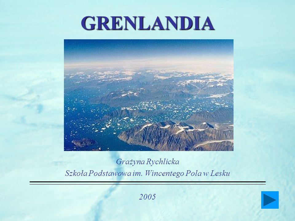 GRENLANDIA (Zielona Ziemia) lokalna nazwa Kalaallit Nunaat (Ziemia Ludzi) stanowi część Królestwa Danii - uzyskała prawo samorządności w 1979 roku głową państwa jest Królowa Danii Małgorzata II (od 1972), reprezentowana przez Najwyższego Komisarza, władzę ustawodawczą stanowi jednoizbowy parlament (31 posłów) 21 czerwca (najdłuższy dzień w roku) jest świętem narodowym Grenlandii stolicą Grenlandii jest Nuuk (Godthab)