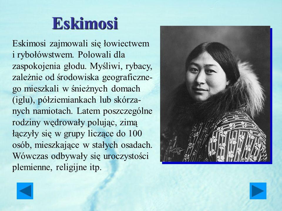 Eskimosi Eskimosi zajmowali się łowiectwem i rybołówstwem. Polowali dla zaspokojenia głodu. Myśliwi, rybacy, zależnie od środowiska geograficzne- go m