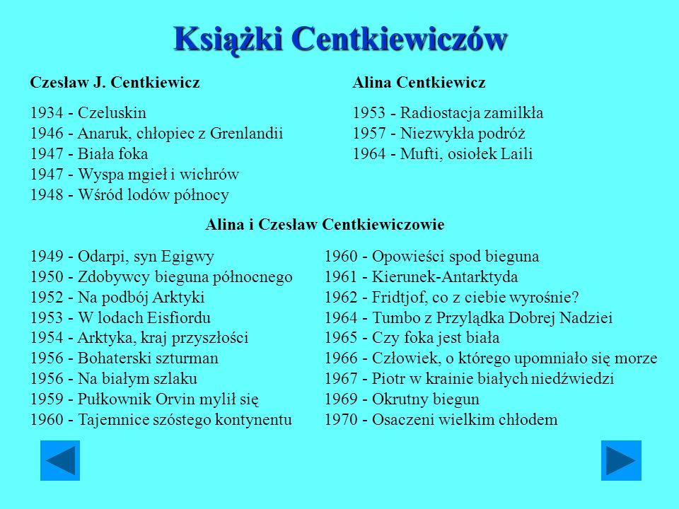 Książki Centkiewiczów Czesław J. Centkiewicz 1934 - Czeluskin 1946 - Anaruk, chłopiec z Grenlandii 1947 - Biała foka 1947 - Wyspa mgieł i wichrów 1948
