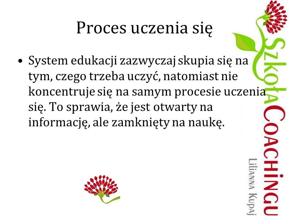 Proces uczenia się System edukacji zazwyczaj skupia się na tym, czego trzeba uczyć, natomiast nie koncentruje się na samym procesie uczenia się. To sp