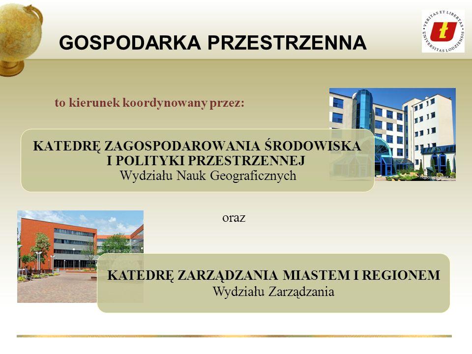 interdyscyplinarnym GOSPODARKA PRZESTRZENNA pozwalającą na pracę w instytucjach i firmach zajmujących się m.in.