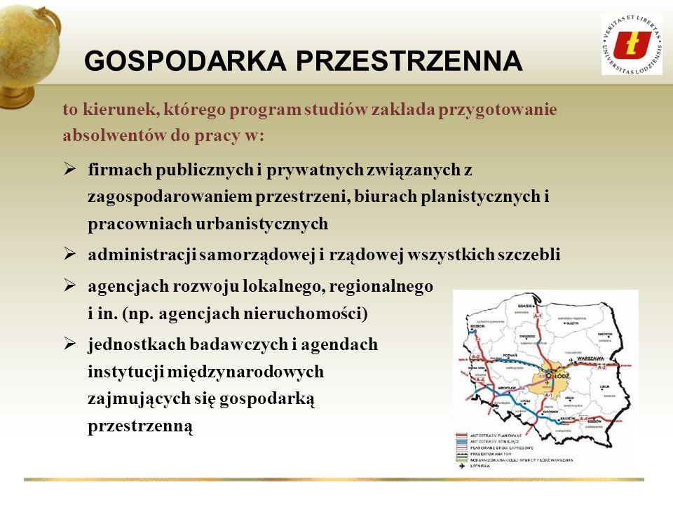 GOSPODARKA PRZESTRZENNA firmach publicznych i prywatnych związanych z zagospodarowaniem przestrzeni, biurach planistycznych i pracowniach urbanistyczn