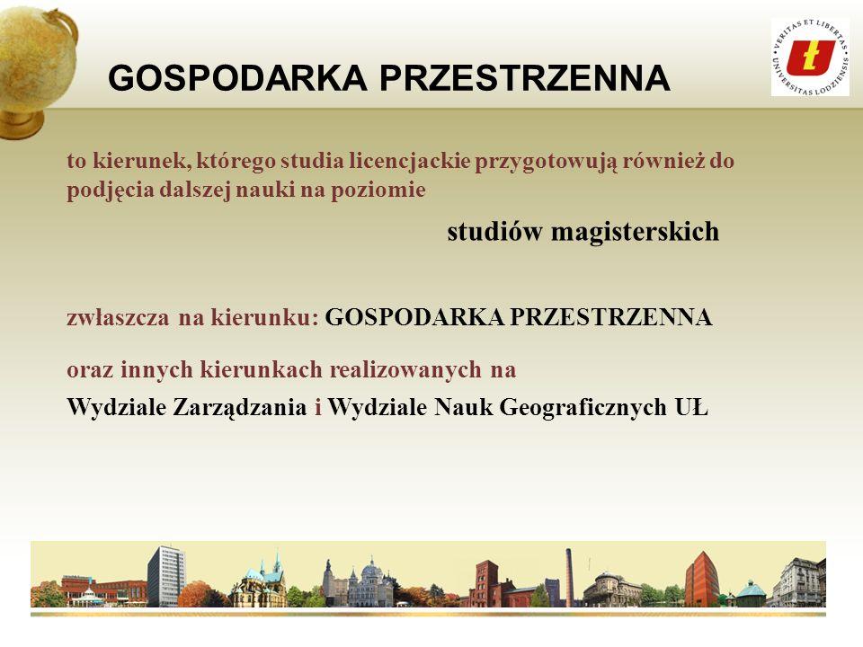 GOSPODARKA PRZESTRZENNA Planowanie przestrzenne Urbanistyka Finansowanie rozwoju lokalnego i regionalnego Aktualne problemy gospodarki przestrzennej w Polsce i Europie Waloryzacja i ochrona środowiska przyrodniczego Gospodarka nieruchomościami Prawo administracyjne i gospodarcze Samorząd terytorialny Ekonomika miast i regionów Ochrona środowiska kulturowego Zarządzanie logistyczne w JST Ćwiczenia terenowe, również zagranicą to kierunek posiadający bogaty program nauczania, realizujący m.
