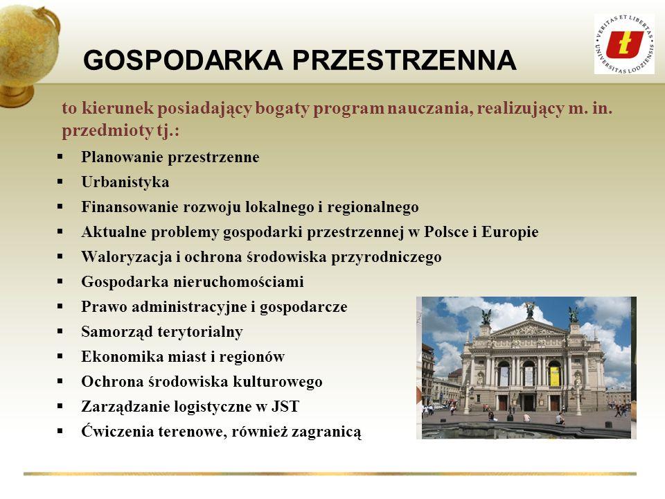 GOSPODARKA PRZESTRZENNA Planowanie przestrzenne Urbanistyka Finansowanie rozwoju lokalnego i regionalnego Aktualne problemy gospodarki przestrzennej w