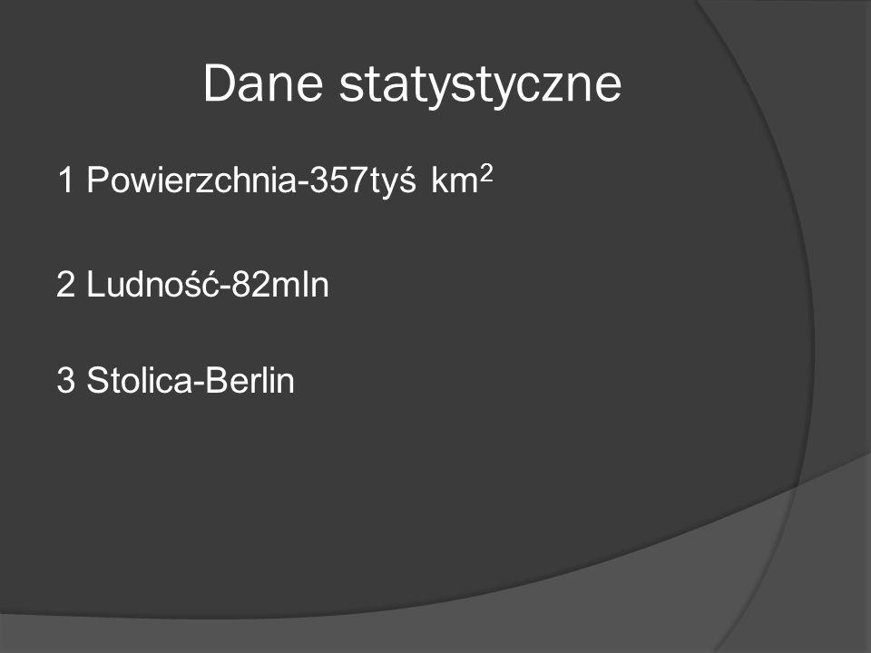 Dane statystyczne 1 Powierzchnia-357tyś km 2 2 Ludność-82mln 3 Stolica-Berlin
