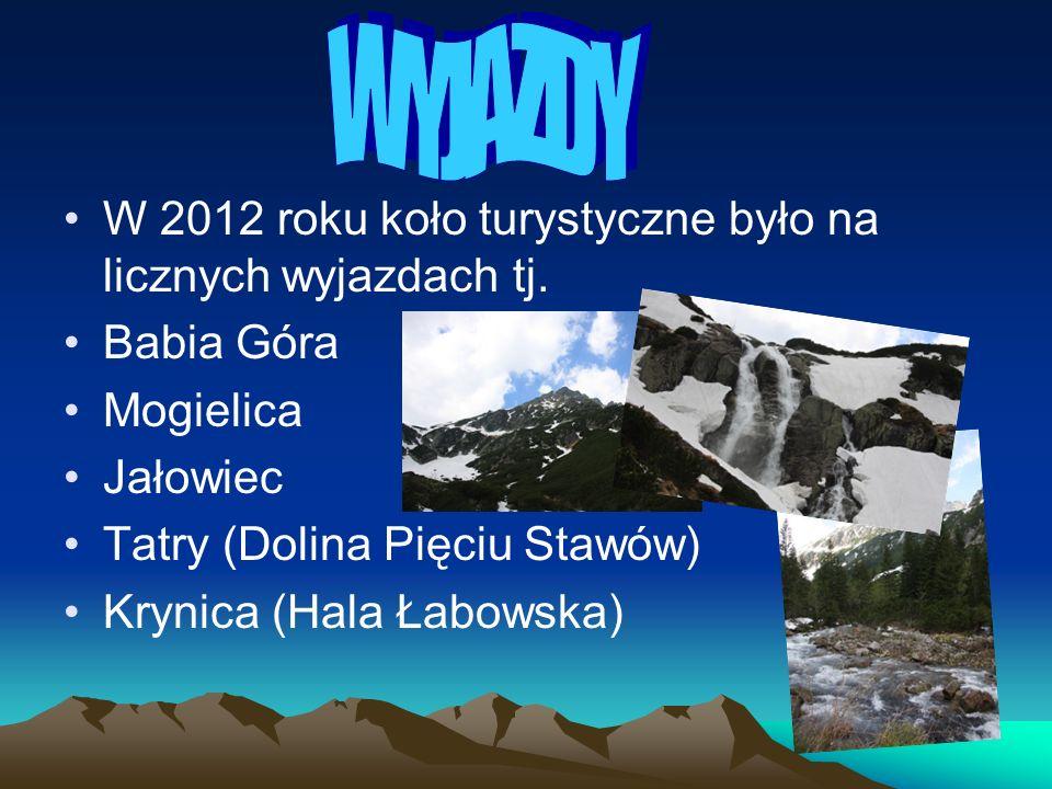 W 2012 roku koło turystyczne było na licznych wyjazdach tj. Babia Góra Mogielica Jałowiec Tatry (Dolina Pięciu Stawów) Krynica (Hala Łabowska)