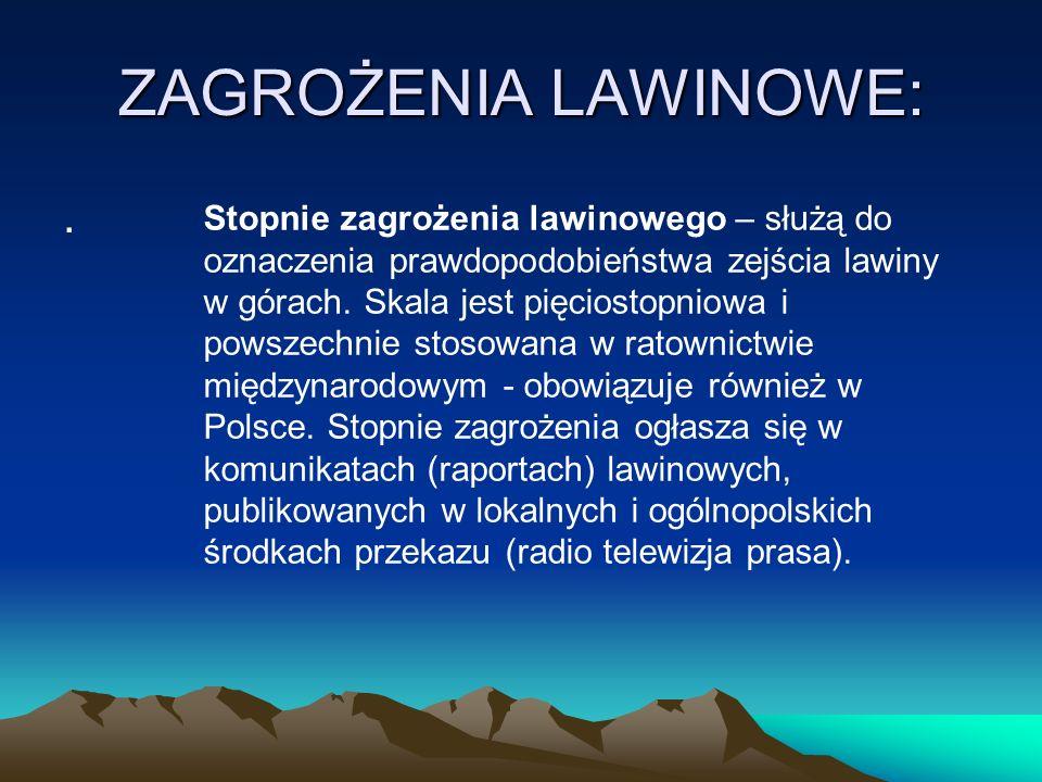 ZAGROŻENIA LAWINOWE:. Stopnie zagrożenia lawinowego – służą do oznaczenia prawdopodobieństwa zejścia lawiny w górach. Skala jest pięciostopniowa i pow