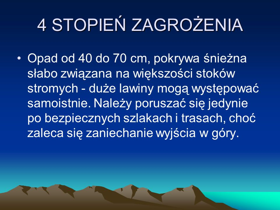 4 STOPIEŃ ZAGROŻENIA Opad od 40 do 70 cm, pokrywa śnieżna słabo związana na większości stoków stromych - duże lawiny mogą występować samoistnie. Należ