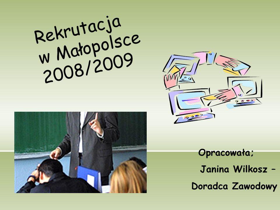 Rekrutacja w Małopolsce 2008/2009 Opracowała; Janina Wilkosz – Doradca Zawodowy