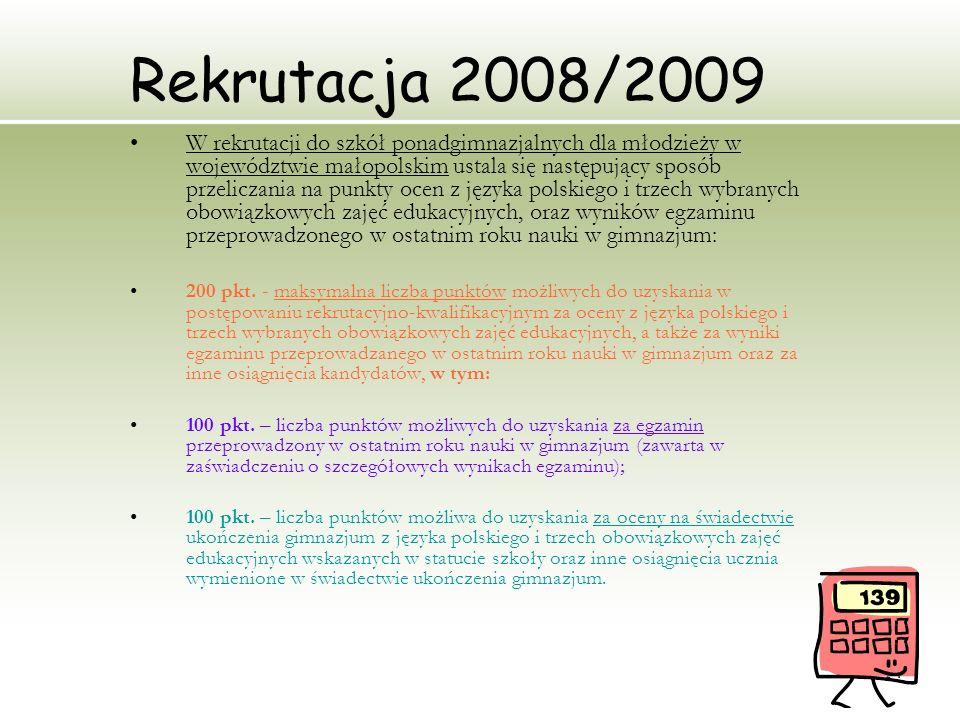 14 Rekrutacja 2008/2009 W rekrutacji do szkół ponadgimnazjalnych dla młodzieży w województwie małopolskim ustala się następujący sposób przeliczania n
