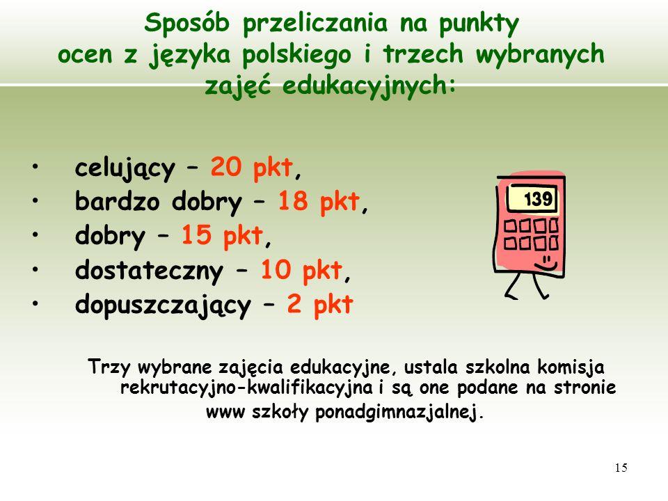 15 Sposób przeliczania na punkty ocen z języka polskiego i trzech wybranych zajęć edukacyjnych: celujący – 20 pkt, bardzo dobry – 18 pkt, dobry – 15 p