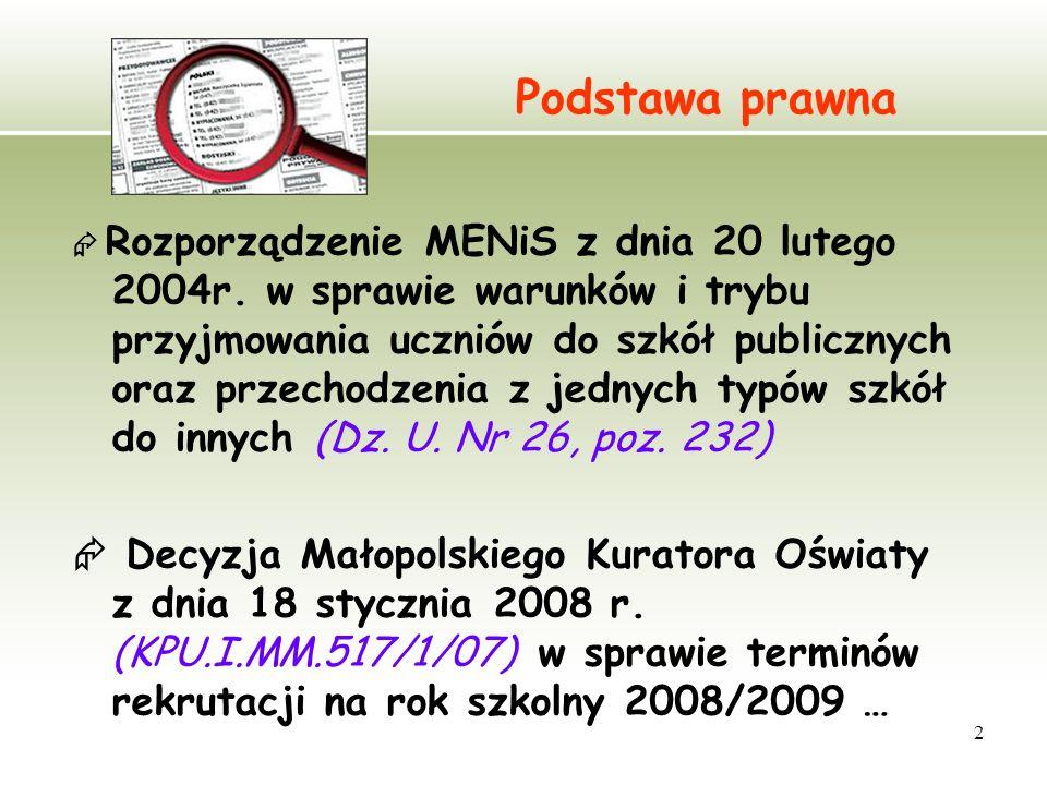 2 Podstawa prawna Rozporządzenie MENiS z dnia 20 lutego 2004r. w sprawie warunków i trybu przyjmowania uczniów do szkół publicznych oraz przechodzenia