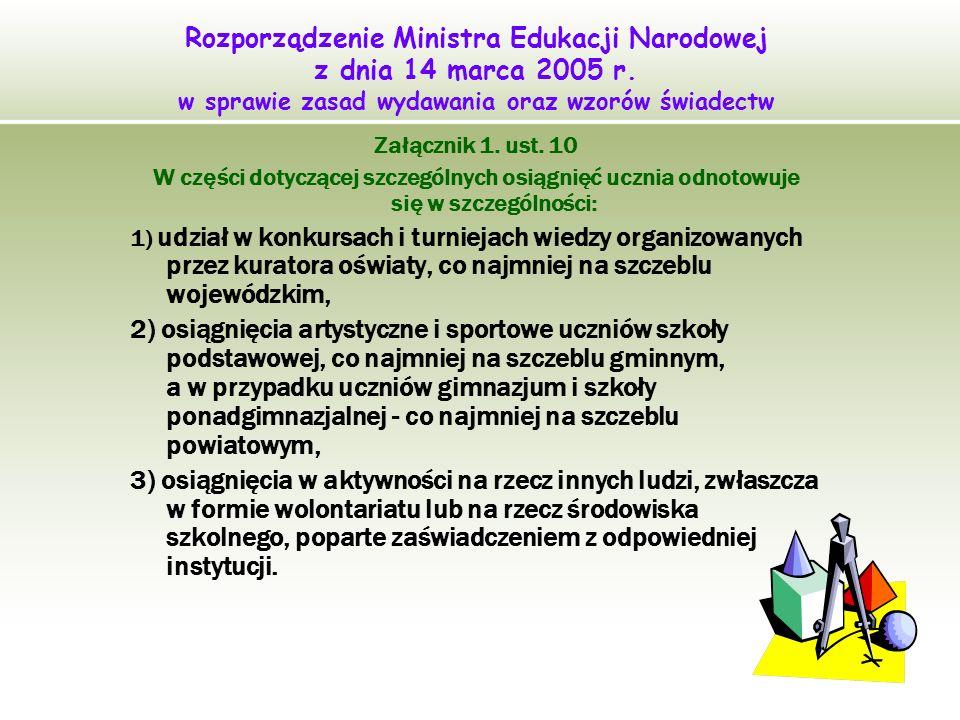 21 Rozporządzenie Ministra Edukacji Narodowej z dnia 14 marca 2005 r. w sprawie zasad wydawania oraz wzorów świadectw Załącznik 1. ust. 10 W części do