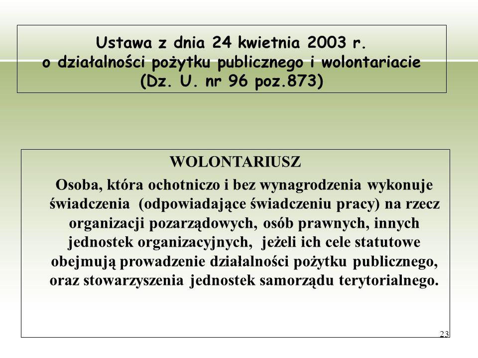 23 Ustawa z dnia 24 kwietnia 2003 r. o działalności pożytku publicznego i wolontariacie (Dz. U. nr 96 poz.873) WOLONTARIUSZ Osoba, która ochotniczo i