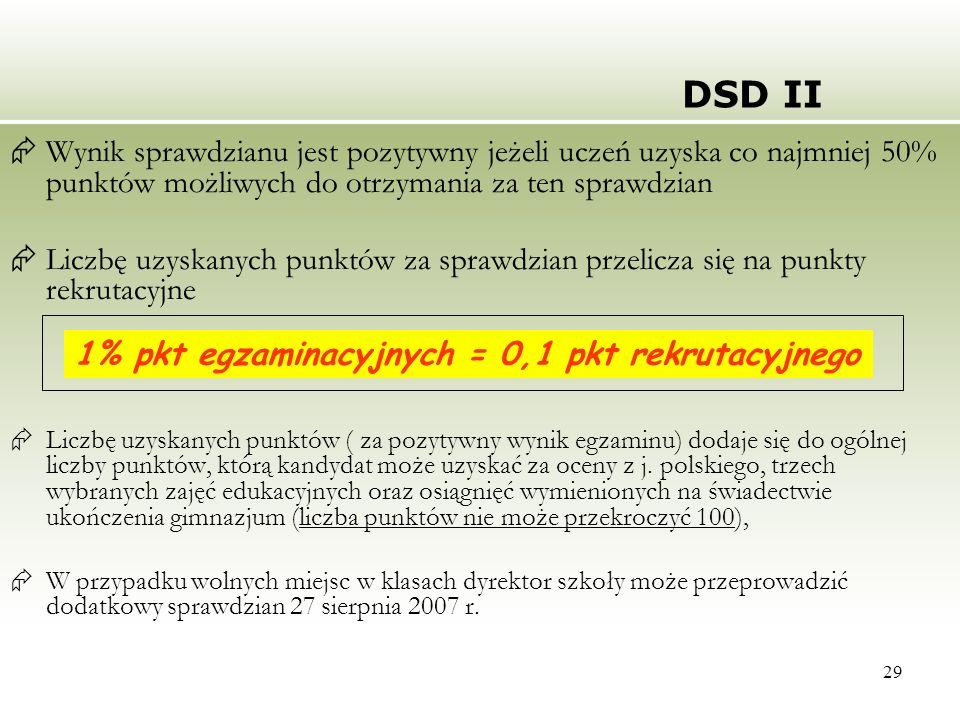 29 DSD II Wynik sprawdzianu jest pozytywny jeżeli uczeń uzyska co najmniej 50% punktów możliwych do otrzymania za ten sprawdzian Liczbę uzyskanych pun