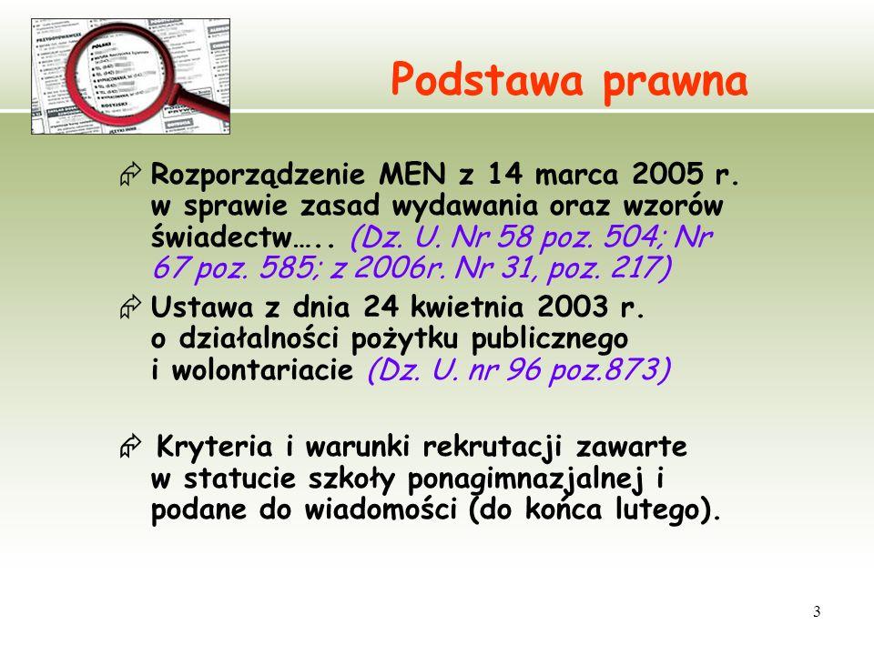 3 Podstawa prawna Rozporządzenie MEN z 14 marca 2005 r. w sprawie zasad wydawania oraz wzorów świadectw….. (Dz. U. Nr 58 poz. 504; Nr 67 poz. 585; z 2