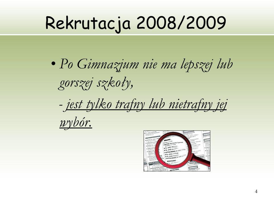 4 Rekrutacja 2008/2009 Po Gimnazjum nie ma lepszej lub gorszej szkoły, - jest tylko trafny lub nietrafny jej wybór.