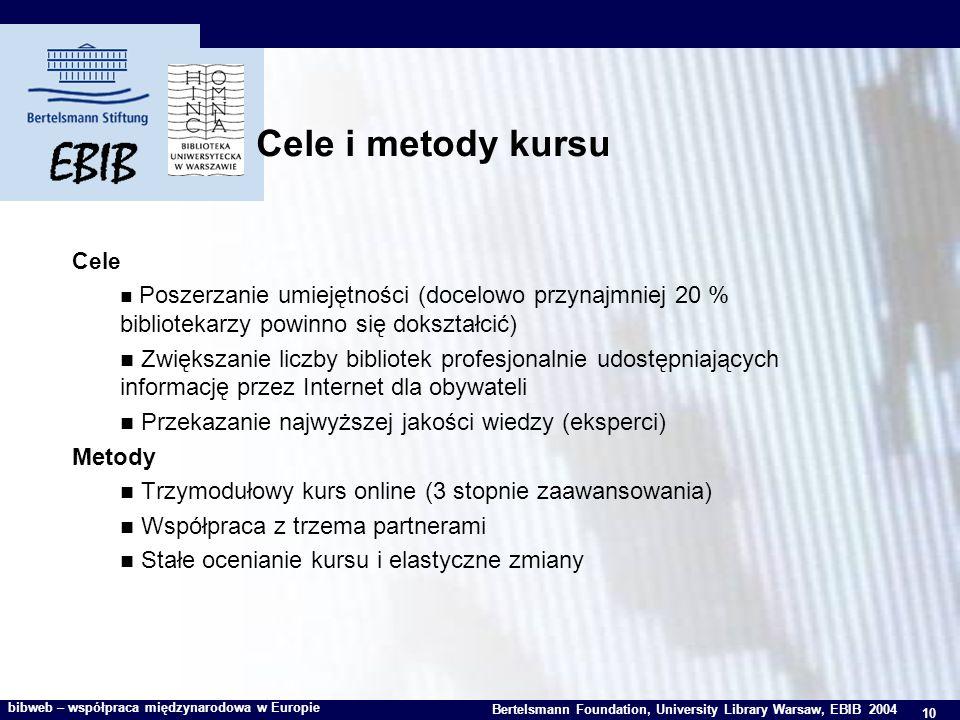 10 Bertelsmann Foundation, University Library Warsaw, EBIB 2004 bibweb – współpraca międzynarodowa w Europie Cele i metody kursu Cele Poszerzanie umiejętności (docelowo przynajmniej 20 % bibliotekarzy powinno się dokształcić) Zwiększanie liczby bibliotek profesjonalnie udostępniających informację przez Internet dla obywateli Przekazanie najwyższej jakości wiedzy (eksperci) Metody Trzymodułowy kurs online (3 stopnie zaawansowania) Współpraca z trzema partnerami Stałe ocenianie kursu i elastyczne zmiany