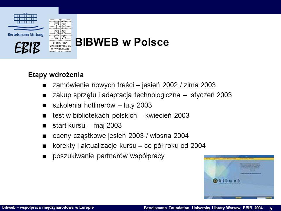 9 Bertelsmann Foundation, University Library Warsaw, EBIB 2004 bibweb – współpraca międzynarodowa w Europie BIBWEB w Polsce Etapy wdrożenia zamówienie nowych treści – jesień 2002 / zima 2003 zakup sprzętu i adaptacja technologiczna – styczeń 2003 szkolenia hotlinerów – luty 2003 test w bibliotekach polskich – kwiecień 2003 start kursu – maj 2003 oceny cząstkowe jesień 2003 / wiosna 2004 korekty i aktualizacje kursu – co pół roku od 2004 poszukiwanie partnerów współpracy.