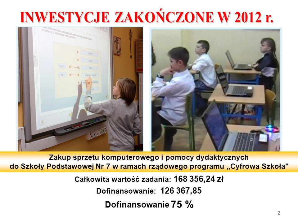 Całkowita wartość inwestycji:3 180 765,55 zł Wydatki poniesione w 2012 r.