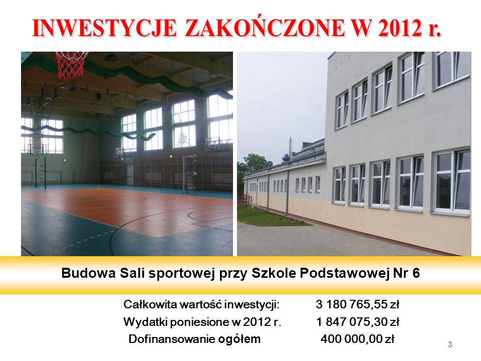 Całkowita wartość inwestycji:3 180 765,55 zł Wydatki poniesione w 2012 r. 1 847 075,30 zł Dofinansowanie ogółem 400 000,00 zł 3 Budowa Sali sportowej