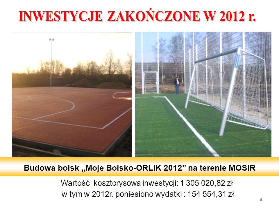 Wartość kosztorysowa inwestycji: 1 305 020,82 zł w tym w 2012r. poniesiono wydatki : 154 554,31 zł 4 Budowa boisk Moje Boisko-ORLIK 2012 na terenie MO