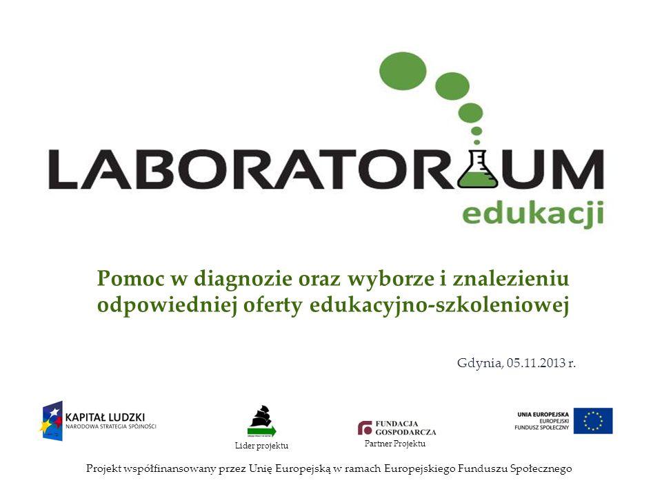 Pomoc w diagnozie oraz wyborze i znalezieniu odpowiedniej oferty edukacyjno-szkoleniowej Projekt współfinansowany przez Unię Europejską w ramach Europejskiego Funduszu Społecznego Lider projektu Partner Projektu Gdynia, 05.11.2013 r.
