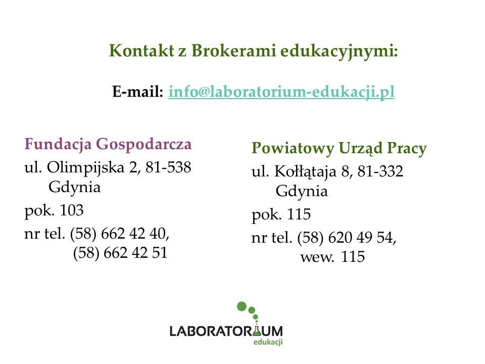 Kontakt z Brokerami edukacyjnymi: E-mail: info@laboratorium-edukacji.plinfo@laboratorium-edukacji.pl Powiatowy Urząd Pracy ul.